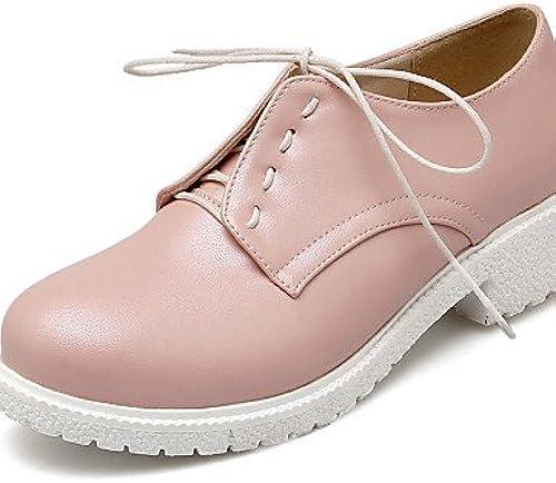 NJX  Chaussures Femme - Bureau & Travail   Habillé - Rose   Violet   Blanc - Gros Talon - Bout Arrondi - Richelieu - Similicuir