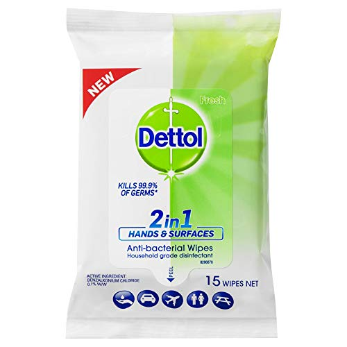 Dettol 2 in 1 Hands and Surfaces Antibacterial wipes 15 pack