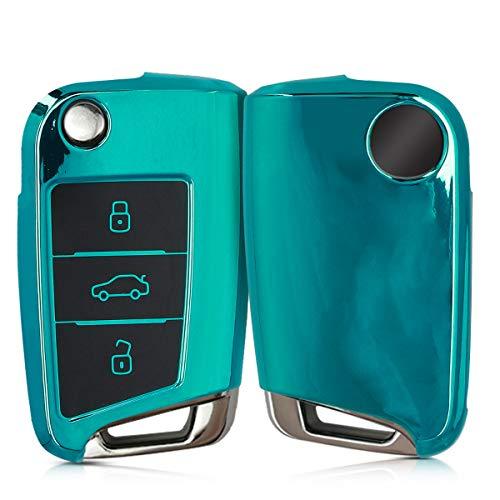 kwmobile Autoschlüssel Hülle kompatibel mit VW Golf 7 MK7 3-Tasten Autoschlüssel - TPU Schutzhülle Schlüsselhülle Cover in Hochglanz Petrol