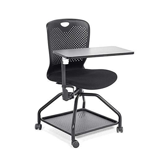 Bürostuhl Sitz Ausbildung Stuhl Schreibentafel multifunktionalen Konferenzraum Stühle Drehstuhl Multimedia Stuhl mit Lendenwirbelstütze (Color : Black, Size : 45 x 47 x 87cm)