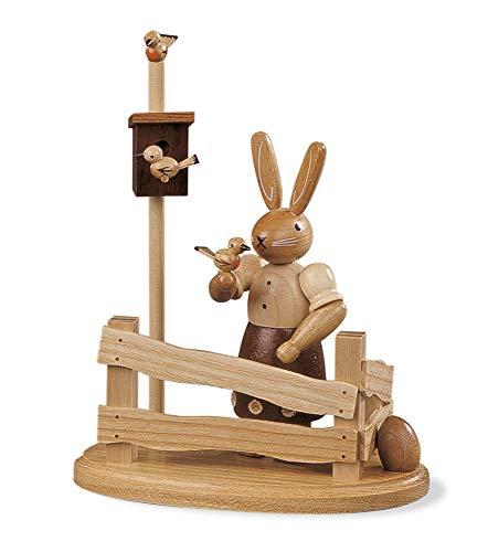 Müller Easter bunny, female, at garden fence, height 14 cm / 6 inch, original Erzgebirge by Mueller Seiffen