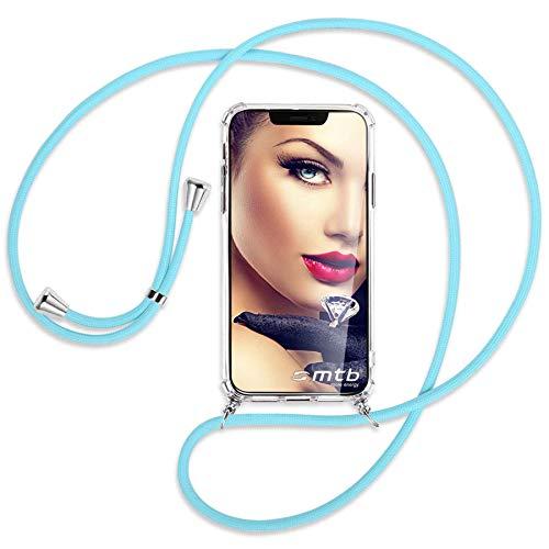 mtb more energy Collar Smartphone para Samsung Galaxy A72 (SM-A725, 6.7'') - Azul Bebe - Funda Protectora ponible - Carcasa Anti Shock con Cuerda Correa