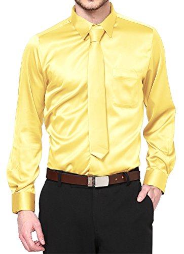Daniel Ellissa Boys Long Sleeve Satin Shirt Tie and Hanky, Yellow Gold, Youth 12 (Youth 12)