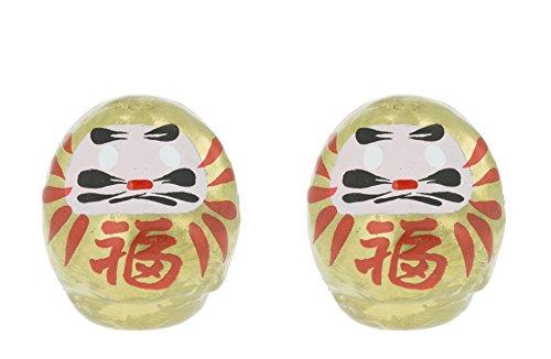 Tierra Zen Set de 2 Darumas de la Riqueza pequeños, Oro, 4.5x3x4 cm