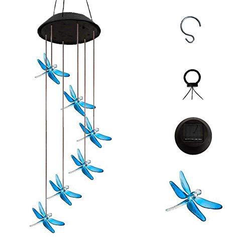 AJH lumière Solaire LED Changement de Couleur Bleu Libellule Carillon éolien Suspendu étanche extérieur décoratif Romantique Vent Cloche lumière