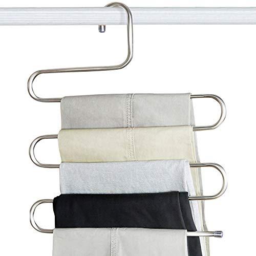 NA. Paquete de 5 estantes para pantalones, tipo S, perchas de acero inoxidable, antideslizantes, para ahorrar espacio para bufandas, vaqueros, ropa, pantalones, toallas