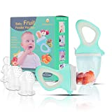Baby Fruit Feeder Pacifier(2 Pack) - Baby Food Feeder - Infant Fruit Teething Toy for Toddlers Pacifier, Feeder, Teether with 6 PCS Silicone Pouches (Cyan)