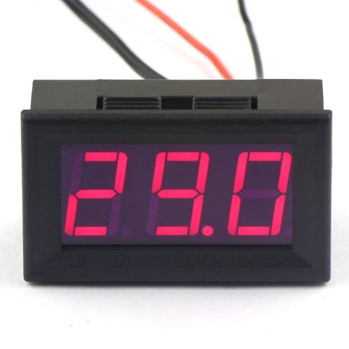 DC 12V Digital Thermometer -50~110 ℃ Temperatur Detektor LED-Anzeige Test Temperature Sonde mit Temperaturfühler (Rot)