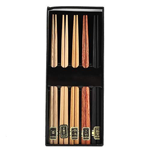 Bacchette Sushi Giapponesi 5 Paia Bacchette Chopsticks Bacchette Cinesi Bacchette Di Legno Riutilizzabili con Confezione Regalo,8,86 Pollici