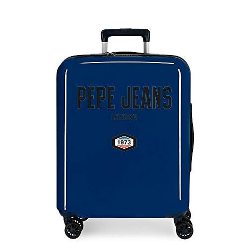 Pepe Jeans Skyler Maleta de Cabina Azul 40x55x20 cms Rígida ABS Cierre TSA Integrado 38,4L 3 kgs 4 Ruedas Dobles Equipaje de Mano