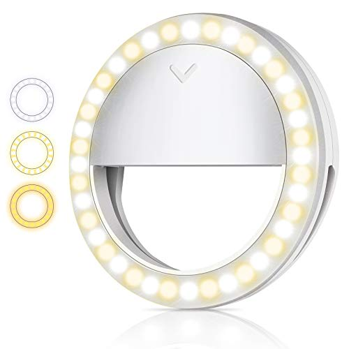 World Backyard Selfie Light, 3 Color Selfie Ring Light 600mAh Battery Capacity Rechargeable Clip On Phone Ring Light for iPhone, Laptop, Photography, Video Recording, Makeup