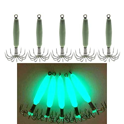 5pcs Luminous Squid Jig Hooks 12 Stainless Steel Needles Fluorescent...