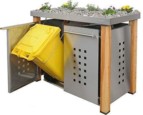 *Edelstahl Mülltonnenbox für 2 Tonnen 120L mit Pflanzenwanne und Holzpfosten (HW11T), Mülltonnenhaus Mülltonnenverkleidung*