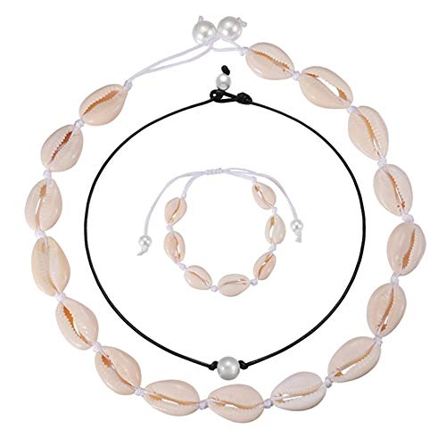 HooAMI dames schelpketting zwart choker bohemian witte sluiting schelp halsketting set Hawaii strand sieraden voor vrouwen meisjes
