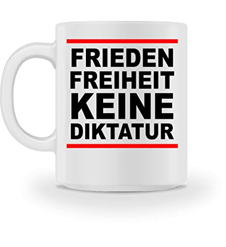 ROCK-WITCHES Frieden, Freiheit, keine Diktatur. Design für den Widerstand. Demo - Tasse -M-Weiß