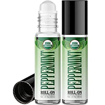 Organic Peppermint Roll On Essential Oil RollerBall  2 PACK - USDA CERTIFIED ORGANIC  Pre-diluted with Glass Roller Ball for Aromatherapy Kids Children Adults Topical Skin Application - 10ml Bottle