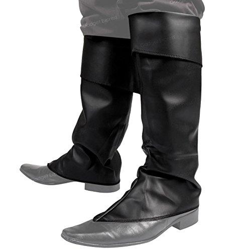 Couvre-bottes Noir supérieure en simili cuir uni Déguisement Jack Sparrow