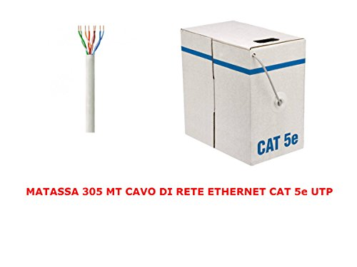 My smart shop MATASSA 305 MT Metri Cavo di Rete UTP Cat 5E LAN ETHERNET M Bobina 5 E Internet ADSL Router Grigio Access Point