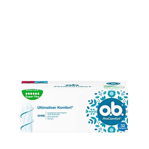 o.b. ProComfortSuper Plus,Tamponsfürsehr starke TagemitDynamic FitTechnologie &SilkTouchOberfläche, für ultimativen Komfort* & zuverlässigenSchutz(1 x 32 Stück)