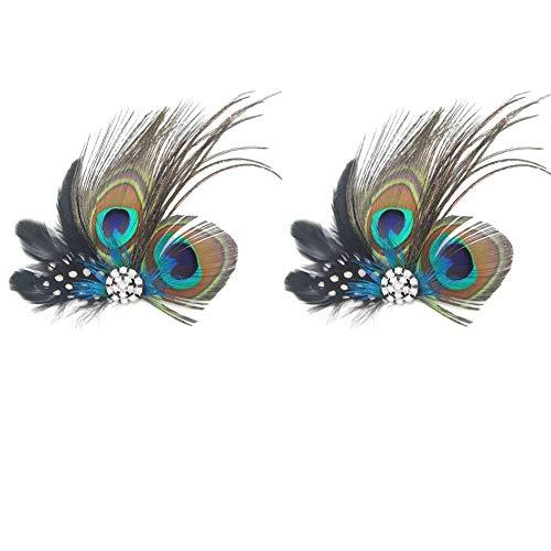 Dusenly 2 modische Haarspangen mit Pfauenfedern, Haarnadeln, Abendkleid, Kopfschmuck, Hochzeits-Feder, Fascinator für Frauen und Mädchen