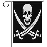 Garten Fahnen Piratenflagge Schädel Schwarz Haus Hof Flagge Haus Banner 32X45.7CM,Gekreuzte Schwerter Große Dekorative Doppelseitige Willkommen Hof Fahnen für Urlaub Hochzeit Home Outdoor...