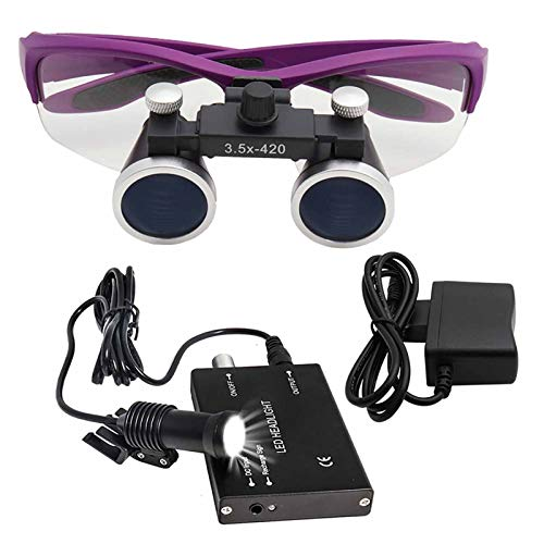 AXH Dental Surgical Loupe 2.5X / 3.5X Magnification Dental Loupes Binocular Magnifier with LED Headlight for Dentist,2.5X