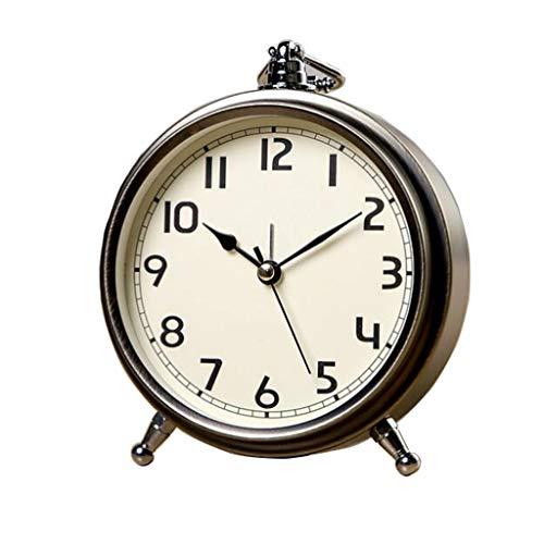 Relojes de Escritorio Retro Creativo Silencioso Reloj de Alarma Números de Caracteres Romanos Dormitorio Mesita de Noche Reloj de Escritorio for Niños Sencillo Reloj Pequeño Reloj de Mesa