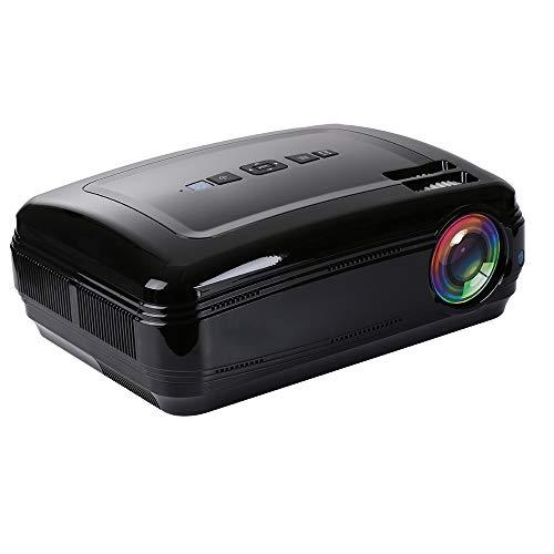 Smart Wi-Fi 200 inch projector, Android Bluetooth draagbare 3200 lumen home theater met ± 15 ° Keystone-correctie voor film sportgames spel compatibel met vuur TV laptop Xbox PS4 Iphone zwart