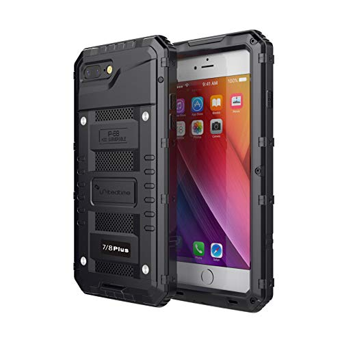 "Waterproof Heavy duty Protective Case Designed for iPhone 7 Plus/iPhone 8 Plus, 5.5"" Inch , Alum Frame Full Body Rugged Hard Silicone, Military Grade with Screen Protector Outdoor Defender (Black)"