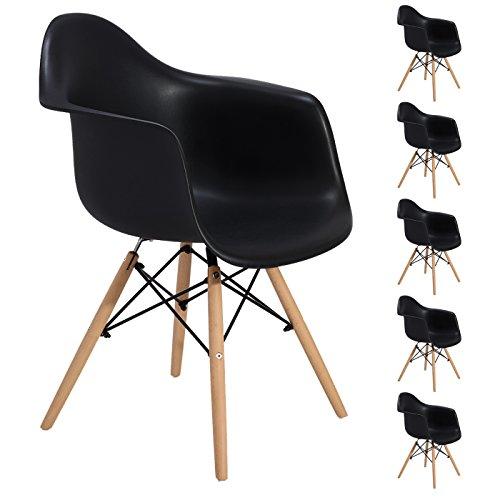 EGGREE Lot von 6 Esszimmerstuhl, Retro Stuhl Beistelltisch mit solide Buchenholz Bein - Schwarz