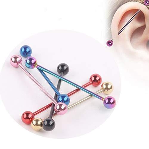 SONGAI Pendientes 1 par Unisex Punky de Bola de Acero Inoxidable Piercing Stud joyería, Nombre de Color: Multicolor (Color : Multicolor)