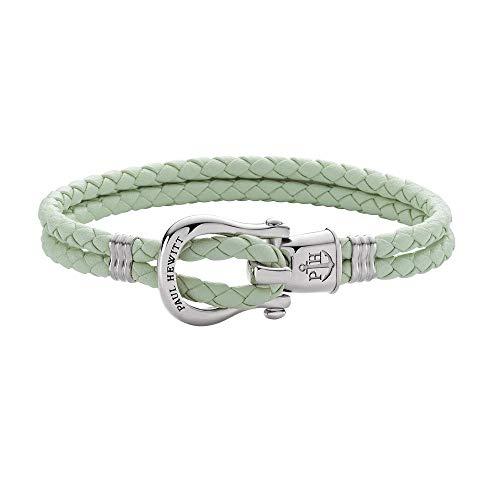 PAUL HEWITT Schäkel Armband Damen PHINITY - Leder Armband Frauen (Mint), Armband Damen mit Schäkel Verschluss aus Edelstahl (Silber)