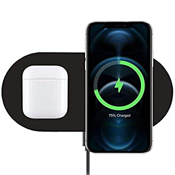 Dual Wireless Charger COSOOS Fast Wireless Charging Pad Compatible for iPhone 12/12 Pro/12 Pro Max/12 Mini/11/11 Pro Max/XS/X/8 Plus Galaxy S20/Note 10 AirPods Pro Galaxy Buds+ No AC Adapter