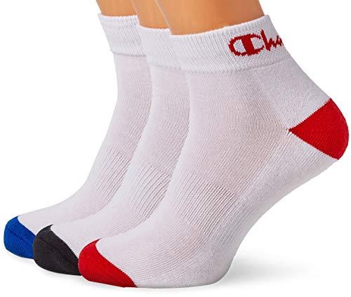 Champion Performance Ankle Calcetines de deporte, Multicolor (Blanc/Noir, Blanc/Bleu, Blanc/Rouge Beige 8lz), 43/46 (Pack de 3) para Hombre