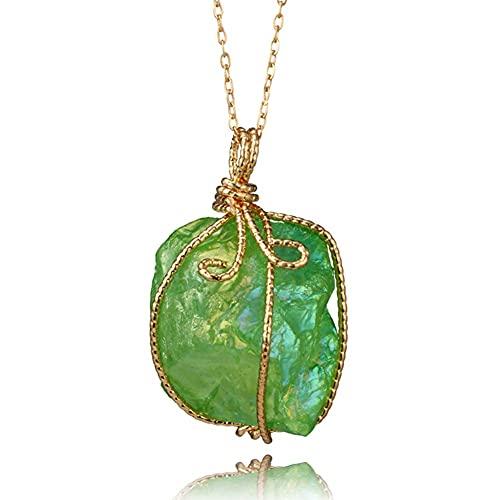 AMOZ Collar de Cristal Curativo de Chakra con Colgante de Cuarzo de Piedra Irregular Natural, Piedra de Nacimiento Chapada en Oro, Envoltura de Alambre Completo, Joyería de Amuleto de Piedras Precios