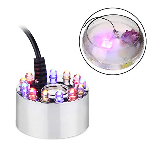 AGPTEK Aluminum Mist Maker Water Fountain Pond Fogger Air Humidifier Atomizer Mini Fog Machine with 12 Color Changing LED Lights