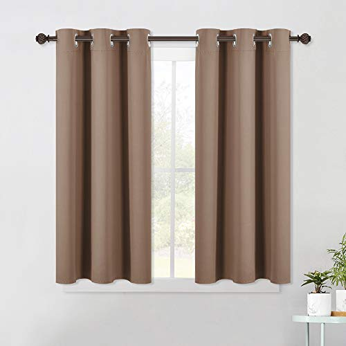 NICETOWN Blackout Window Curtains and Drapes for Kitchen, Window Treatment Thermal Insulated Solid Grommet Blackout Drapery Panels (Set of 2 Panels, 42 by 45 Inch, Cappuccino)