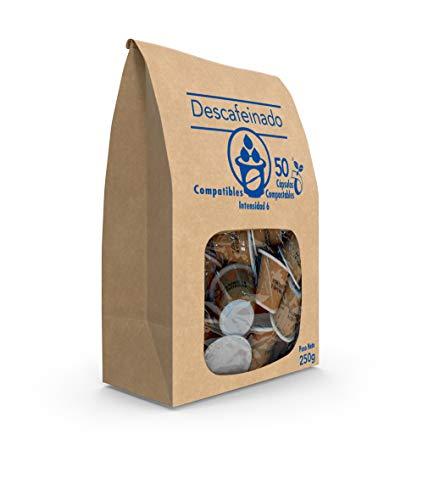 SABOREATE Y CAFE THE FLAVOUR SHOP - Cápsulas Compatibles de Café Descafeinado - Compostables y Biodegradables - 50 unidades
