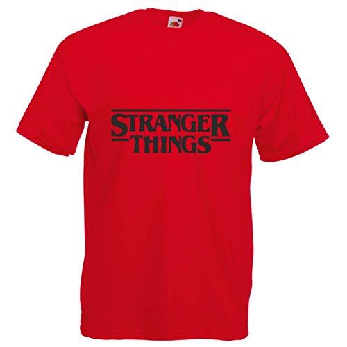 Fruit of the Loom Camiseta con el Logo Impreso del título de la Serie de Netflix Stranger Things - S - Rosso