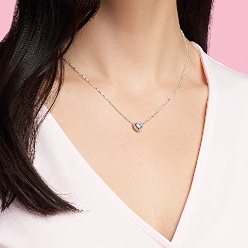 Pandora Jewelry Elevated Heart Cubic Zirconia Necklace in Sterling Silver, 17.7