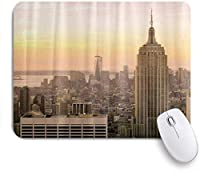 ZOMOY マウスパッド 個性的 おしゃれ 柔軟 かわいい ゴム製裏面 ゲーミングマウスパッド PC ノートパソコン オフィス用 デスクマット 滑り止め 耐久性が良い おもしろいパターン (エンパイアステートビルディングサンセットモダン)