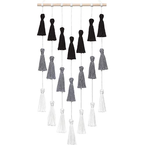 Dahey Macrame Wall Hanging Woven Tapestry Tassels Wall Art Boho Home Decor for Living Room Bedroom Nursery Room,Black,Gray and White,29' x 15'