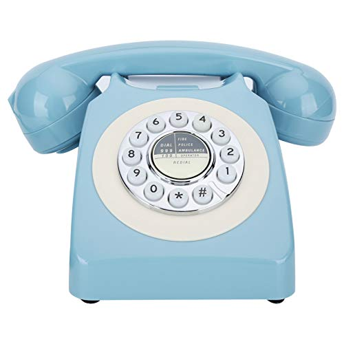 Retro Landline Phone,Classic Old Fashioned Wired Telephone with FSK/DTMF Dual Systems,Mechanical Ringer Vintage Fixed Landline Desk Telephone for Office Home Bedroom (Blue)
