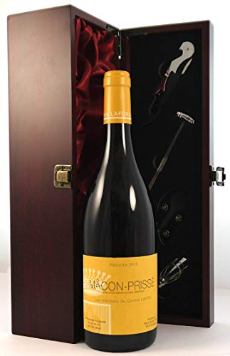 Macon Prisse 2015 Domaine des Heritiers du Comte Lafon in einer mit Seide ausgestatetten Geschenkbox, da zu 4 Weinaccessoires, 1 x 750ml