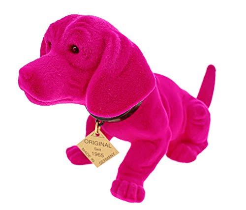 Kremers Schatzkiste Wackeldackel 19 cm Pink Wackelkopfdackel Made in Germany fürs Auto