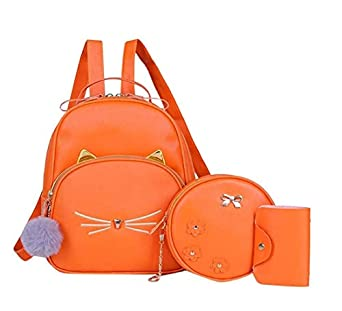 Floki Fashion Girls 3-PCS Fashion Cute Mini Leather Backpack sling & pouch set for Women/Girls