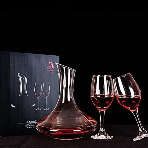 Wein Dekanter, 3-teiliges Set, 2 Rotweingläser 330ml, und 1 Dekanter,1.5L Weinkaraffe Set aus Kristallglas, Rotwein Bleifreies Glasdekanter, Dekantiergefäß Glasbelüftungsweinkaraffe Decanter