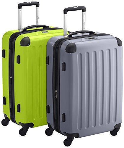 HAUPTSTADTKOFFER - Alex - 2er Koffer-Set Hartschale glänzend, TSA, 65 cm, 74 Liter, Apfelgrün-Silber