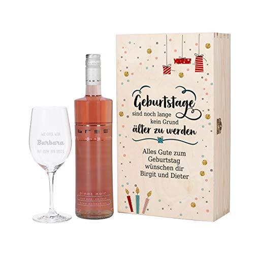 Herz & Heim® Geburtstagsgeschenk mit graviertem Weinglas und Bree Wein zur Auswahl in Präsentbox als Geschenk zum Geburtstag für Frauen und Männer Rosé