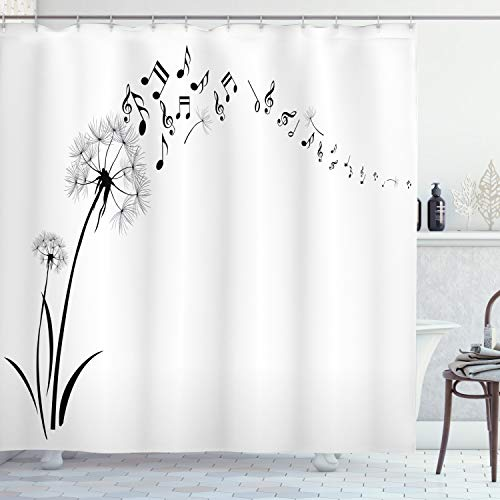 """Ambesonne Music Shower Curtain, Flying Dandelions with Notes Music Summer Spring Meadow Silhouette Softness Simple, Cloth Fabric Bathroom Decor Set with Hooks, 70"""" Long, Black and White"""